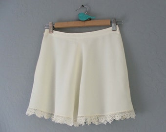 1940s Glamorous Shorts Underpinnings with Cotton Scalloped Lace Trim