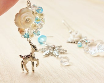 Winter Wonderland Trio Mismatched Earrings - romantic jewelry - silver pewter bambi deer charm, vintage glass snowflake, white rose cabochon