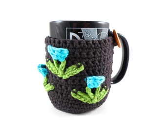 Mug Cozy with Tulips, Mother's Day Gift, Coffee Lovers Gift, Crochet Coffee Mug Cozy, Tea Mug Cozy, Mug Cover, Mug Cosy,