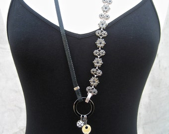 Black And Silver Assemblage Necklace - Key - Tassel - Rhinestones - Asymmetrical - Long Dangling Necklace