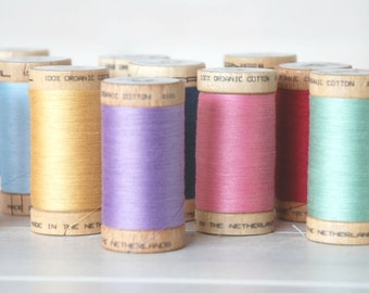 10 Spools - Mix and Match - Organic Cotton Thread - GOTS - 300 Yards Wooden Spool  - Choose 10 Colors