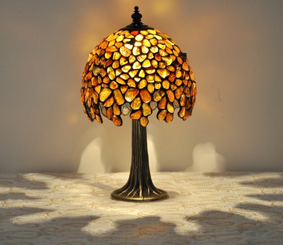 Table Lamp 7 Shade Hand Made Of Natural Baltic By