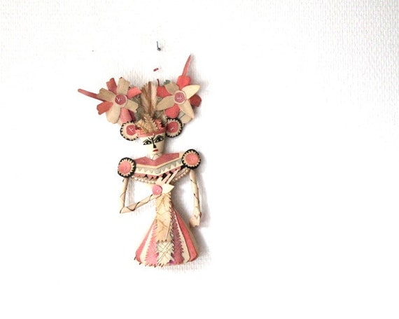 wooden stiched doll - traditional folk art from Asia- red, black and white on natural wood- wall decoration for interior design- Asian art