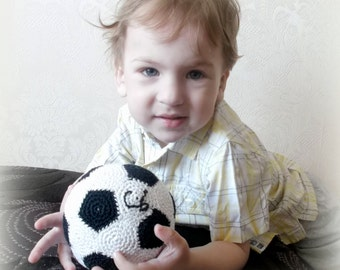Personalized Soccer Sports Crochet Ball Toy Baby Toddler Ball with Name Eco Friendly Plush Stuffed Soccer balls