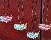 Patriotic Necklace, Go USA Birch Wood Pendant - Perfect for July 4th in Four Color Choices, Red, White, and Blue United States of America