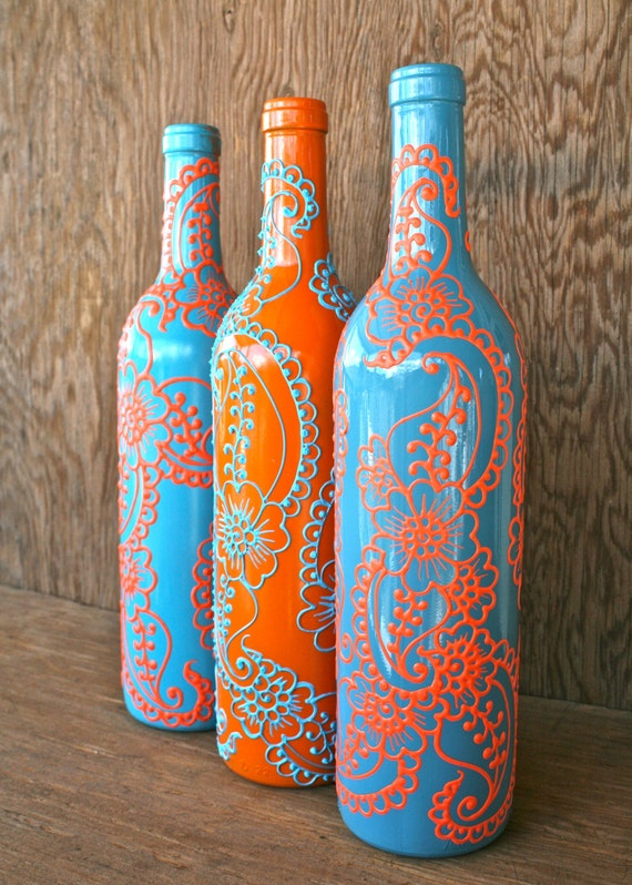 Set of 3 Hand Painted Wine bottle Vases Turquoise and Coral