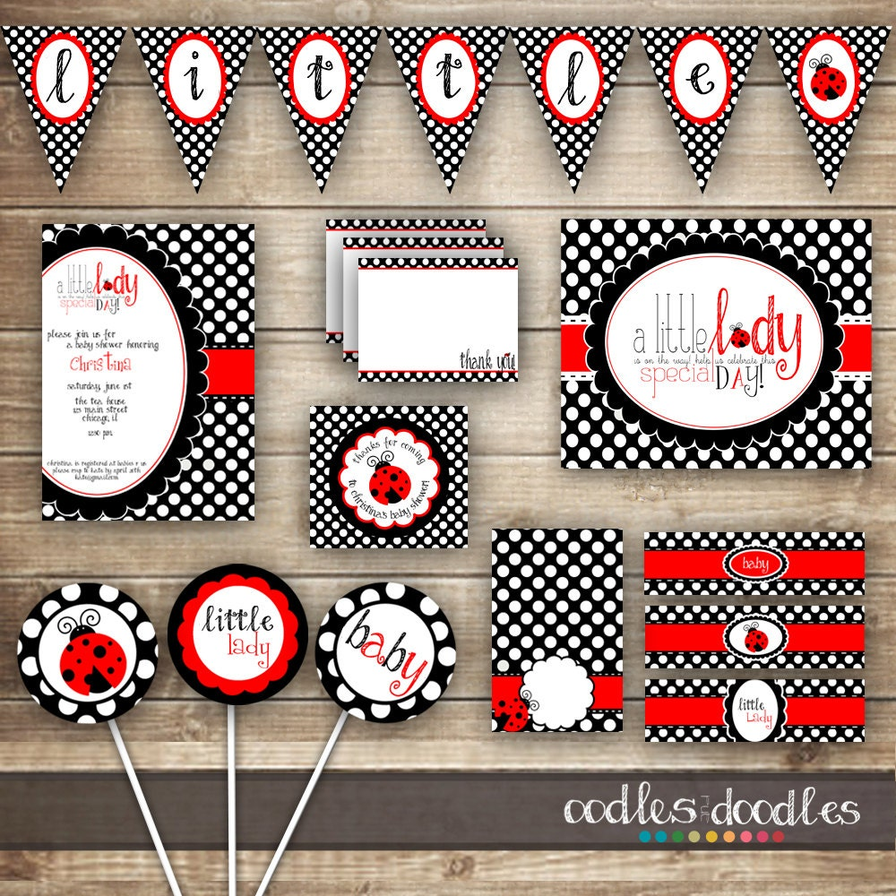 Ladybug Baby Shower PARTY PACKAGE / Baby Girl Shower / Baby