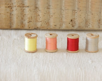 4 Vintage Oliva Wooden Spools with thread
