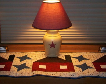 HANDMADE Home Sweet Home with Friendship Stars Quilted Table Runner, Primitive Home Decor Red White Blue, Americana, Patrotic