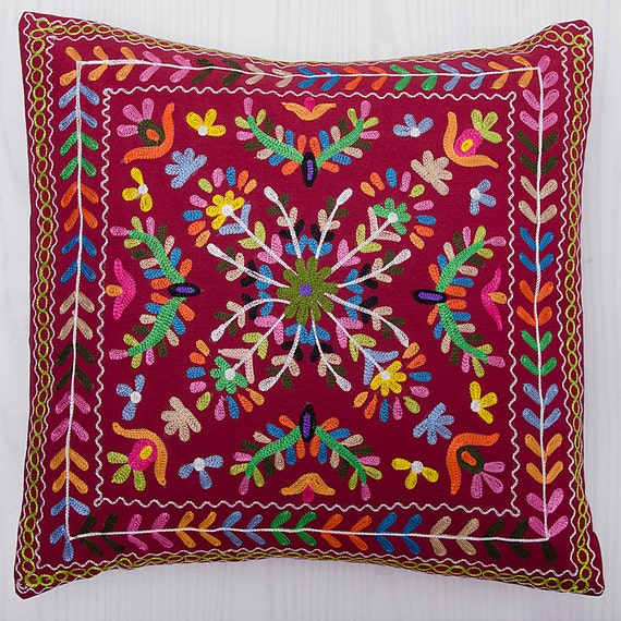 Throw Pillows Maroon : Decorative Throw Pillow Suzani Pillow Maroon by CraftAuraHome