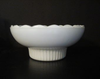 "Milk Glass Bowl by  EO Brody Co M2000 6 5/8"" w Scalloped Edge and Ribbed Foot"