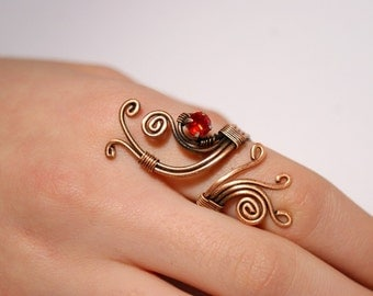 wire wrapped ring copper wire with red crystal stone ring wire wrapped jewelry handmade copper wire jewelry
