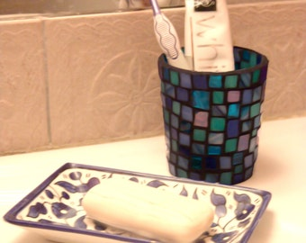 Handmade mosaic candle holder/ toothbrush glass/ bathroom glass/ house decor/ tealight holder