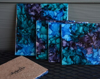 "Alcohol Ink Ceramic Coasters - ""Lucid Dream"" Color Pallet"