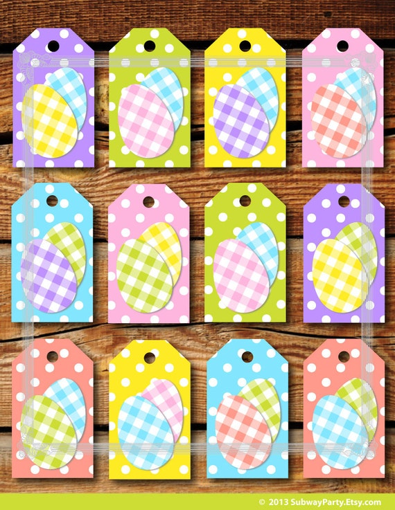 Printable easter gift tags cute polka dots and easter eggs in printable easter gift tags cute polka dots and easter eggs in pastel color gingham jpg instant download negle Choice Image