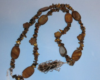 TIGER EYE Necklace with Silver WIRE Wrapped Stone