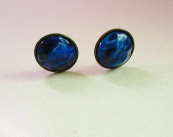 Vintage clip on earrings, 1940s cobalt blue swirl clip on