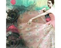 Vintage peacock goddess photomontage digital art print peacock high fashion 1950 pink aqua black and white