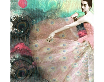 Peacock vintage fashion goddess, digital print, modern art, 50s high fashion, fine art, vintage vogue, 1950 vintage fashion, home decor