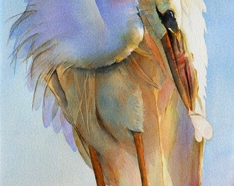 Fine art print of an original watercolor of a Great White Egret preening his feathers. Museum-quality paper with archival ink.