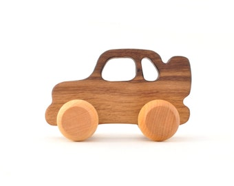 Organic Wooden Toy Car - Eco-Friendly Wooden Toy for Babies, Toddlers, and Preschoolers - Montessori Inspired Toys - SUV - Keepsake Toy
