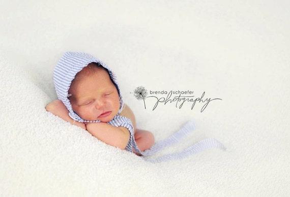Newborn Baby Bonnet Nautical Photography Prop Baby  Girl Newborn Prop Hat Vintage Fabric Bonnet Blue  Bonnet Infant Photo Prop