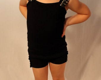 Girls dance clothes,  dancewear, top with faux leather and stud detailing