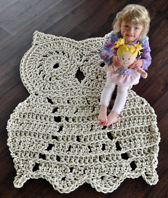 Whoo, Whoo let this large owl in your house - 46 in Owl Rug - Handmade To Order