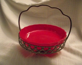 FRENCH Candy DISH, Made in France, Victorian, Edwardian, Hollywood Regency, Red Glass Candy Dish, Antique Basket Dish, Antique Candy Dish,