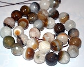 Gray Striated Agate Beads Faceted 12mm