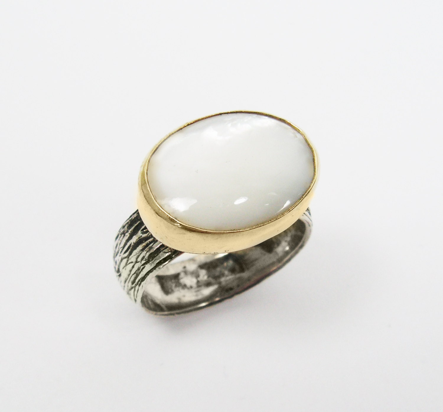 of pearl ring sterling silver and gold ring gold