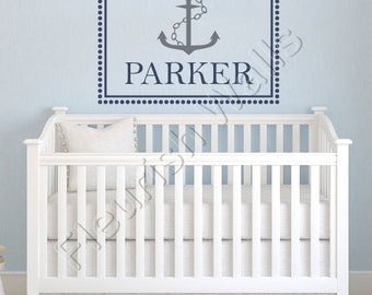 Baby Boy Wall Decal - Nautical Nursery Decal - Polka Dot Wall Decal Personalized Name Decal - Baby Boy Nursery Boy Bedroom Wall Decal BN030