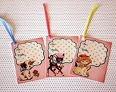 Retro look Gift Tag / set of 9 cute Retro Cards - TO and FROM ANIMALS - Vintage style Embellishments / Gift Wrapping ideas