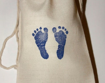 """10 Baby Shower Favor Bags, 4 x6"""" Blue Baby Feet Stamped Muslin Bags, Cotton Muslin Gift Bags, Baby Footprints, Baby Shower Favors Boy"""