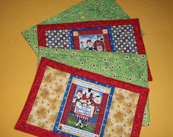 Barbecue reversible placemat - country farm animal picnic quilted place mat - red blue green gold - summer - cow pig chicken - SET of 2