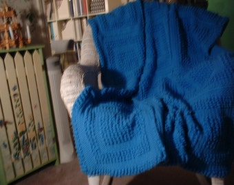 "Berry Blue - Hand Crocheted Afghan   45"" x 55"""
