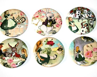 Alice in Wonderland - Set of 6 Large Fridge Magnets