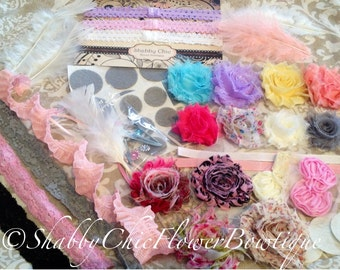 Fancy Shabby Chic DIY Headband Kit 10 Headbands 4 Clips - 65 Plus Piece - Shabby Flower DIY Headband Making Kit: - Baby Shower Lace Upgrade