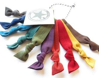 Earth Tones Hair Ribbons Assortment - 10 Colors - Elastic Pony Tail Holders - Fall Neutral Nature Jewel