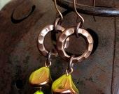 Chartreuse Gear Flower Earrings