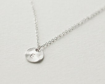 Jennifer fisher etsy silver round disc initial necklace bridesmaid jewelry personalized letter necklace initial pendant necklace aloadofball Images
