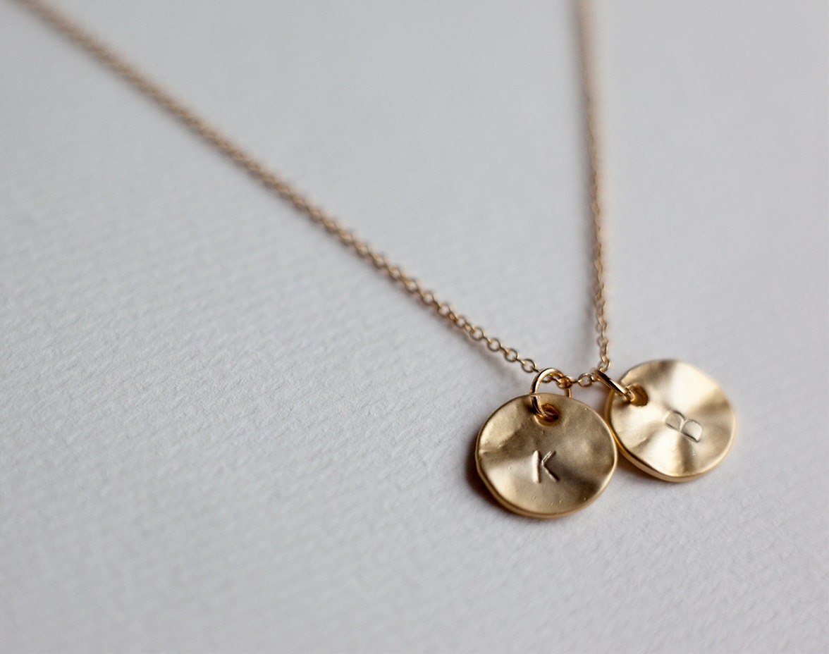 two initial necklace dainty initial disc necklace custom