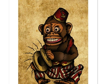 jim jam the musical monkey toy playing cymbals neo traditional tattoo flash old