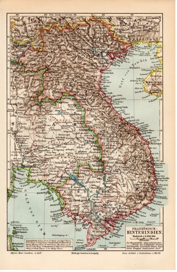 1899 French Indochina Map Indochine Cochinchina Tonkin