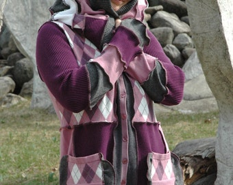 Upcycled sweater...Purple Fairy of Norway---Super sweet purple cardigan from Sofie's Softies