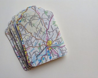 Vintage map and atlas luggage tags (30) die cut