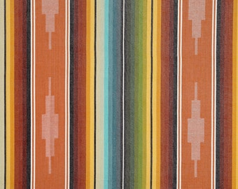 Serape Stripe Fabric - Turq/Orange