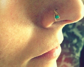 thin nose hoop with teal bead in silver, gold or rose gold