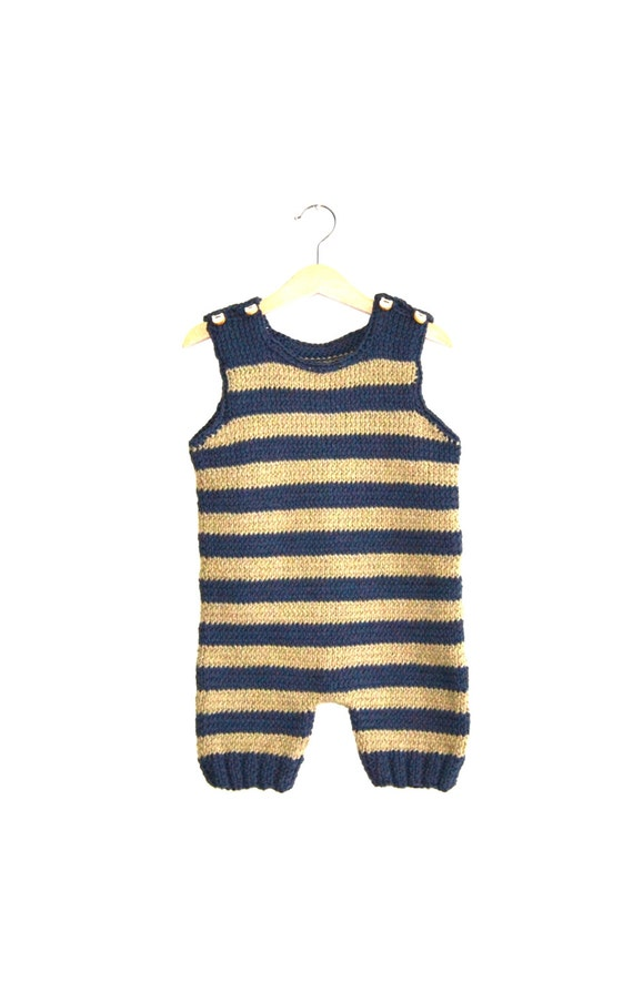 Hand Knitted Baby Romper Sleeveless And Short Leg %100 Cotton