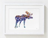 Geometric Blue Moose Watercolor Print - 5x7 Archival Fine Art Print - Gift, Wall Decor, Home Decor, Housewares